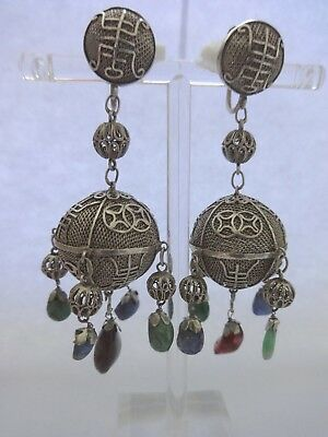 Antique Chinese Silver Filigree Earrings