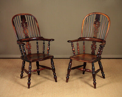 Antique Pair of Yew Wood Broad Arm Windsor Armchairs c.1840.