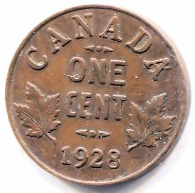 1928 Canadian 1 Cent Maple Leaf Penny Coin - Canada - King George V