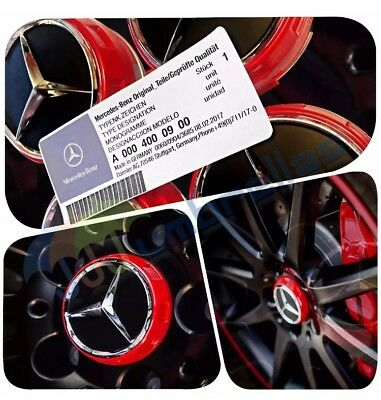 X 4 Mercedes Amg Red Wheel Center Caps 75Mm Fits A B C E M A45 Class C63 C43 E63