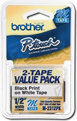 Brother 1/2in Tape for P Touch Electronic Labelers M Tape 2 Pack Black on White