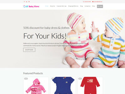 Baby Apparel Boutique Ecommerce Website Business. 1-click install.