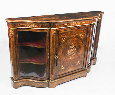 Antique Victorian Serpentine  Inlaid Burr Walnut Credenza Side Cabinet 19th C