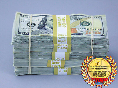 Prop Money $50,000 TRUE BLUE AGED Blank Filler Play Fake Prop Bills Movie Money