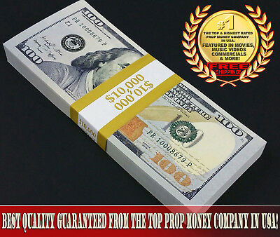 $10,000 - Top Quality New Full Stack For Film, Movie, TV, Play Fake Prop Money