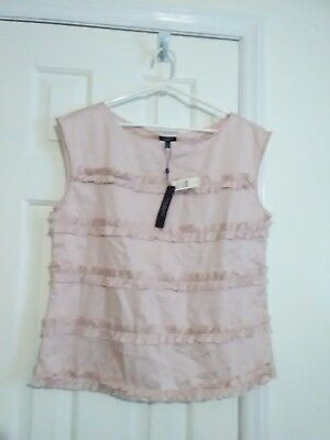 $59 TALBOTS Pink Taupe Ruffled 100% Cotton Pullover Top Shirt Blouse Size 14