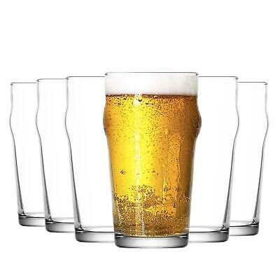 12x Beer Glasses 570ml Pint Glass Set LAV Noniq Nonic Pub Lager Cider Tumblers
