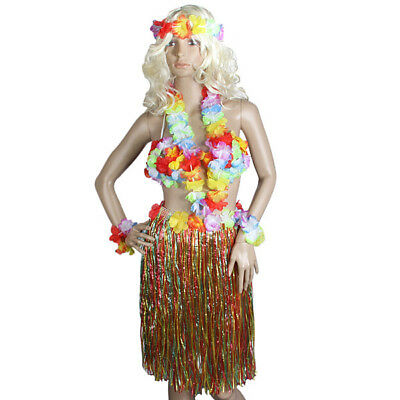 Hawaiian Party Girl 5 Piece Kit Beach Party Lei Grass Hula Skirt Outfit 80cm