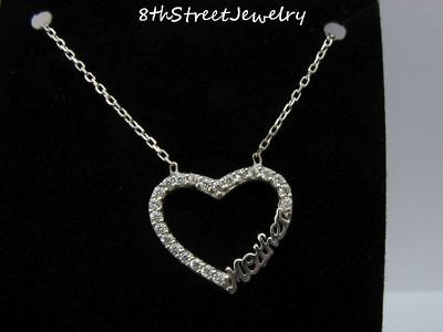 """New W/O Tag Sterling Silver 925 CZ Open HEART MOTHER Necklace 16"""" +1.5"""" ext"""