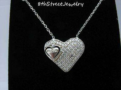 """New W/O Tag Sterling Silver 925 MOM Cubic Zirconia HEART Necklace 16"""" +1.5""""ext"""