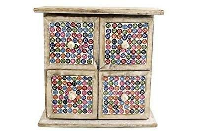 Buttons Four Draw Unit Wooden Vintage Box Mosaic Shabby Handmade Storage Box