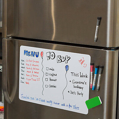 17x12 Magnetic Dry Erase Blank Board for Refrigerator With 4 Markers and Eraser