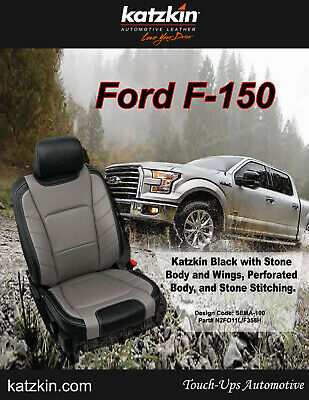2015-2018 Ford F150 XLT SuperCrew KATZKIN Leather Seat Covers LIMITED Black Gray