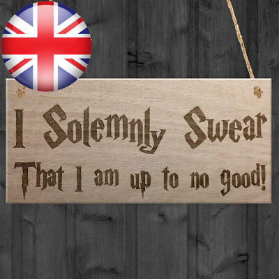 Red Ocean Solemnly Swear No Good Wizardry Hanging Plaque Magic Man Cave Bar...