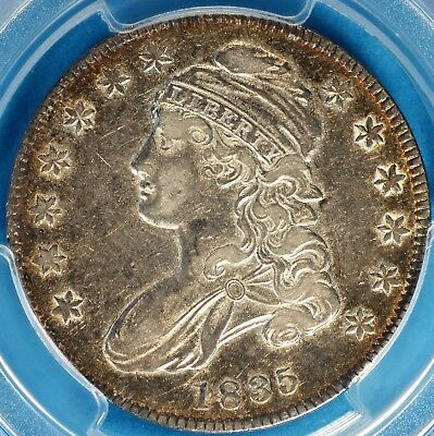 1835 Capped Bust Half Dollar PCGS XF45- Very Sharp, Contrasting Tone