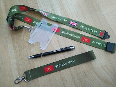 british army lanyard +ID holder military keyring soldier gift armed forces badge