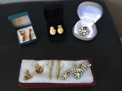 Job Lot X 6 Pairs Vintage & Very Old Screw Back Earrings Used. Boxed