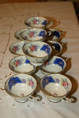 Set Of 11 Vintage Floral Bavaria  Germany Us Zone Small Tea Cup