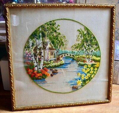 Vintage Hand Embroidered Wool Work Country Garden Picture Gesso Frame 1950's