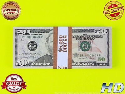 PROP MONEY FULL PRINT 50s New Style Play Money Fake Prop Bills Movie Money