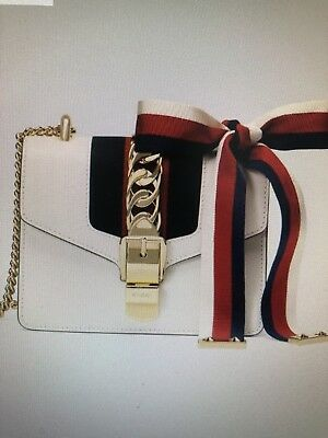 93df68a4a4c GUCCI Sylvie leather mini chain bag WHITE SMALL SHOULDER RIBBON 100%  authentic