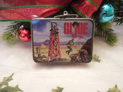 Hallmark G. I. JOE LUNCHBOX ORNAMENT SET WITH THERMOS 2002 PRESSED TIN NEW