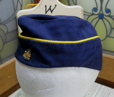 Cub Scout BSA Official Blue Den Mother's Cap With Pin Size 21 1/2 Circa 1960's