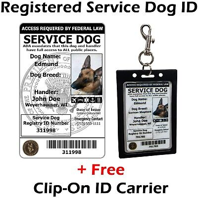 ActiveDogs Registered Service Dog ID Card + Clip-On ID Carrier