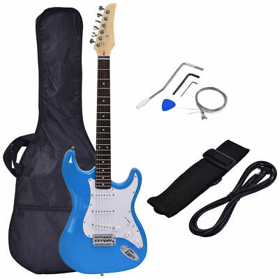 """9"""" Full Size Electric Guitar Kit w/ Case Strap Strings Pick for Beginners Blue"""