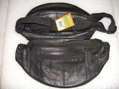 Genuine Fanny Pack Leather Pouch Waist Bag / Black With 3 Zipper Compartments