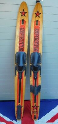 Snazzy Antique Vintage Wooden Waterskis Bar Retail Hotel Fashion Wall Display
