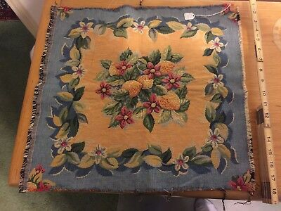 Vintage French Tapestry, Fruit/flower scene, Blue/green/tan/red in color 19x18in
