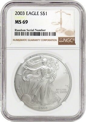 2003 $1 Silver American Eagle NGC MS69