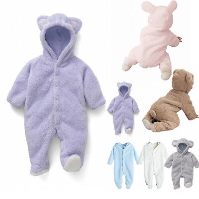 Newborn Baby Infant Unisex Romper Hooded Jumpsuit Bodysuit Coral fleece Outfits