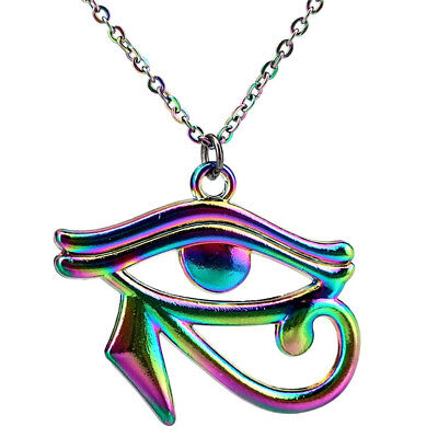 C22187 Rainbow Color Egyptian Eye of Horus Pendant Ra Amulet Steel Necklace 22""