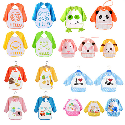 Baby Boys Girls Waterproof Bibs Toddler Kids Long Sleeve Art Smock Feeding Apron