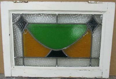 "OLD ENGLISH LEADED STAINED GLASS WINDOW Pretty Geometric Design 21.75"" x 14.75"""