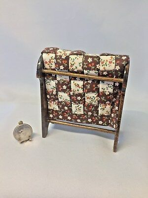 Dollhouse Miniature Artisan Hand Made Country Quilt and Walnut Quilt Stand 1:12