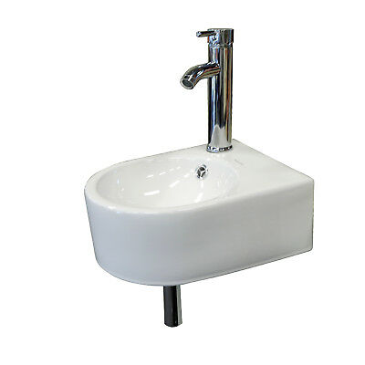 Small Wall Mount Bathroom Sink Ceramic Porcelain Toilet Bowl Lavatory Washroom