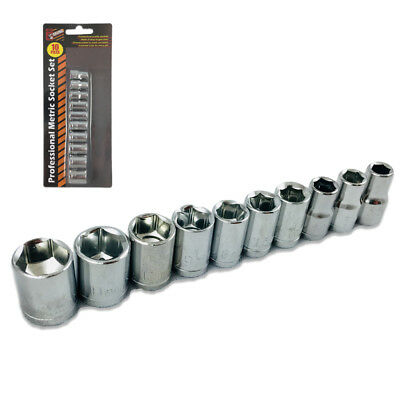 "Metric Socket Set 10-Piece Professional 1/4"" Drive Sockets Chrome Plated Steel"