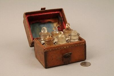 Small Leather Cased Medicine Bottle Set, Apothecary, Druggist