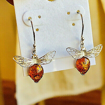Genuine Baltic Amber Earring Russian Vintage Butterscotch Egg Yolk Silver Polish