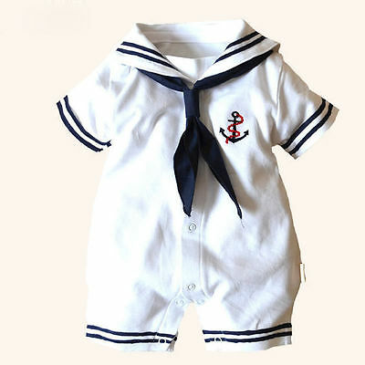 Hot Newborn Baby Boys Girls Anchor Sailor Costume Romper Bodysuit Sunsuit Outfit