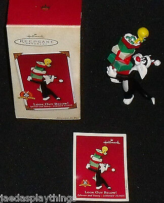 Hallmark Ornament Sylvester And Tweety Vtg 2002 LOOK OUT BELOW In Box