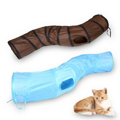 Small Pet Cat Kitten Tunnel Play Collapsible Funny S WAY Tube Toy With Hole