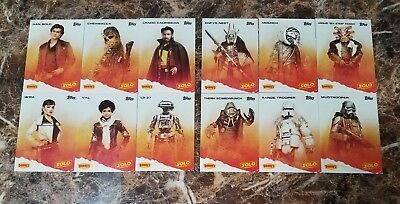 2018 Topps Dennys SOLO: A STAR WARS STORY 12-Card Set w/ Coupon Cards