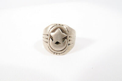 Alter Silberring Stern Mond D Äthiopien Used Old silver ring Star bague Afrozip