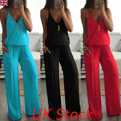 UK Boho Womens Strap V Neck Loose Holiday Playsuit Wide Leg Long Beach Jumpsuit