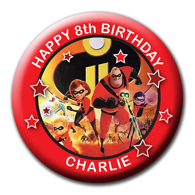 Personalised Incredibles Birthday Huge Badges/fridge Magnets/mirrors - 58Mm