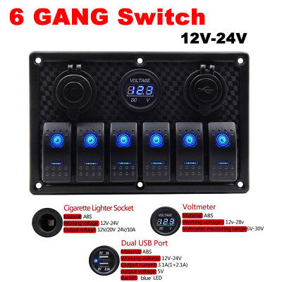 6 Gang ON-OFF Toggle Switch Control Panel USB Charger 12/24V for Car Marine Boat